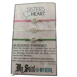 Jewelry - New Sisters Heart Cross Yarn Bracelet Blessings